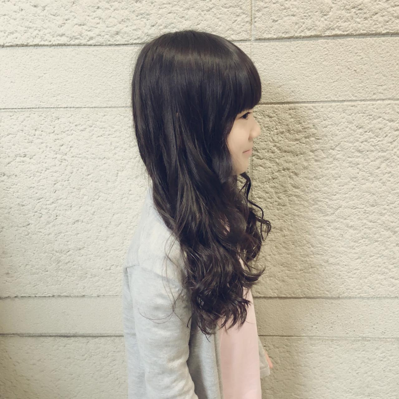 子供 ロング 巻き髪 黒髪 ヘアスタイルや髪型の写真・画像