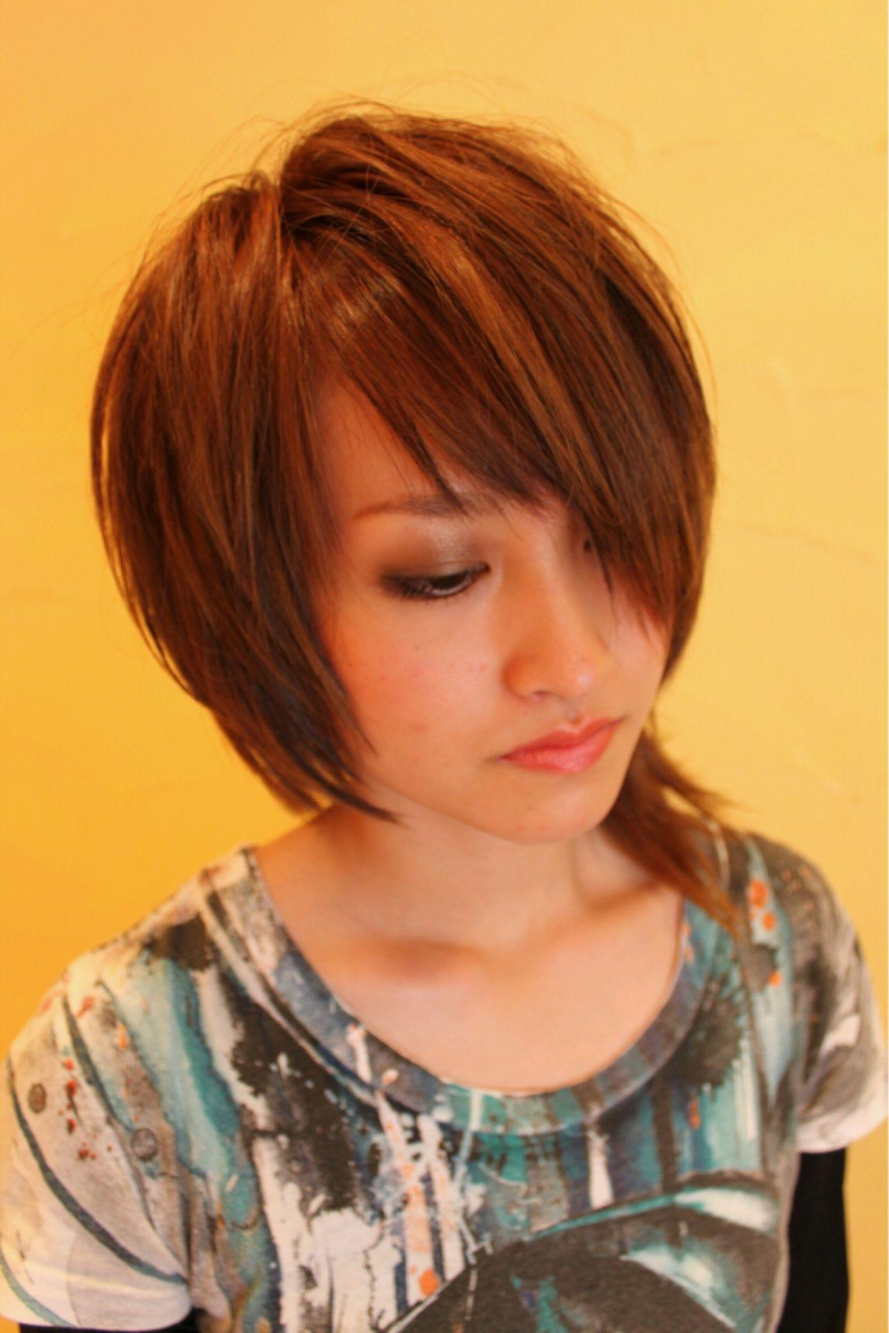 ショート モード ウルフカット アシメバング ヘアスタイルや髪型の写真・画像