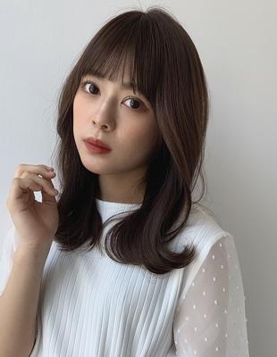 大人気 シースルーバング 韓国風ミディアムヘア(TO-1)
