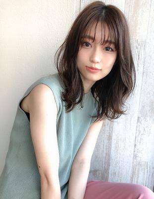 20代30代40代くびれレイヤーミディアム小顔前髪(SH−207)