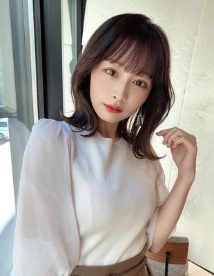 シースルー前髪とお顔周りカットがかわいい韓国くびれミディ/(hm-6)