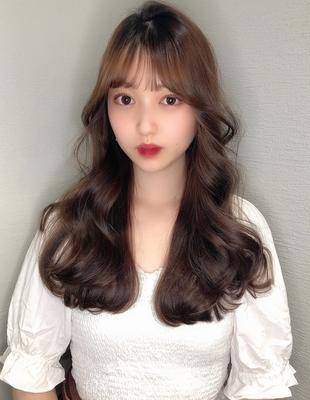 お顔周りとレイヤーカットで大人かわいい韓国ヘア/(hm-7)