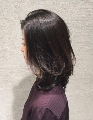 40代女性にエイジレスな暗髪ミディアム(ko-43)
