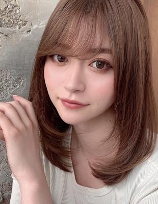 ちょい長め前髪で大人綺麗お姉さんヘア 小顔ミディアムレイヤーカット (OK-178)