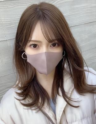 マスクにも似合う巻き髪外ハネレイヤーヘアスタイル (OK-183)