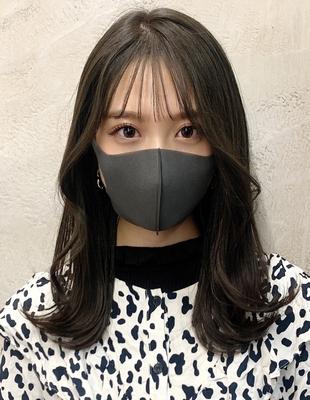マスクにも似合う巻き髪外ハネレイヤー顔まわり巻き(OK-187)