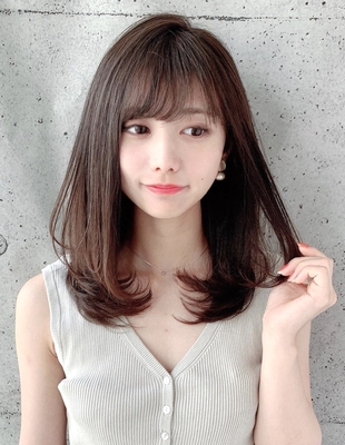 20代30代40代小顔レイヤー内巻きワンカールスタイル 新宿美容室 大沢かおり (OK-209)