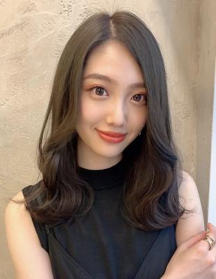 暗髪透明感カラーカーキグレージュ大人ヘア  (OK-216)