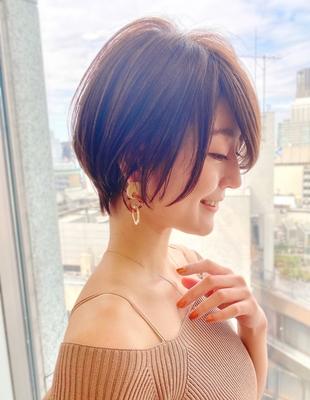 新宿アフロート 20代30代40代50代 大人可愛い丸みショートボブ◎ 春カラー【IK132】
