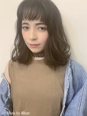 【山田】厚めバング無造作カールふわミディy24
