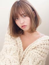 【添田】大人かわいいひし形シルエットボブ斜めバンググレージュs-13