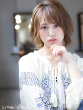【添田】ひし形ふわミディ斜めバングなミニマムボブ3Dカラーs-19