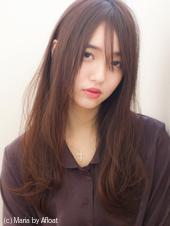 【添田】ワンレン大人ロング 斜めバングモードブルージュs-22