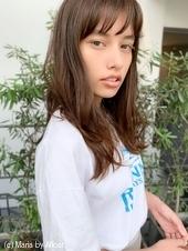 添田】シースルーバング束感セミディ無造作カールハイライト