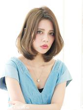 キャメルアッシュカラーのスタイリング簡単な小顔効果ボブ【N-390】