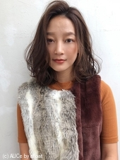 マロンベージュ☆大人ウェーブロブ【y−393】