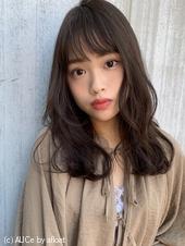 フェミニンなふんわりパーマ 暗髪ロング M-214