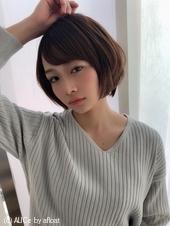 女子アナ風小顔ショートボブ【ラベンダーグレー】U-233