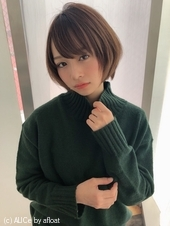 女子アナ風小顔ショートボブ【ラベンダーグレー】U-235