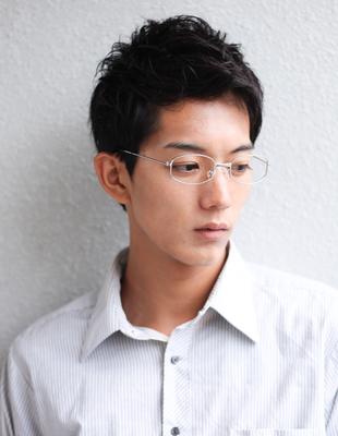 メンズ30代ビジネス好感度ショート◎メガネ髪型(NY-133)