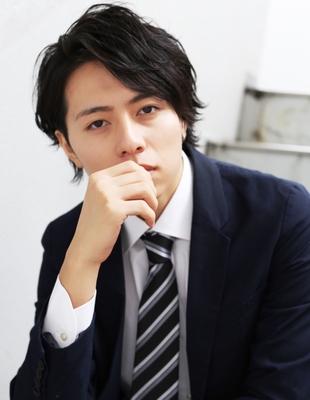 好印象メンズパーマビジネスウルフ人気◎長め髪型(NS-051)