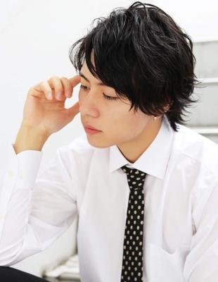 メンズ好感度爽やかビジネス刈り上げミディアム人気スーツ◎髪型(NS-073)