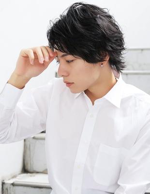 好印象メンズパーマビジネスウルフ人気◎長め髪型(NS-080)