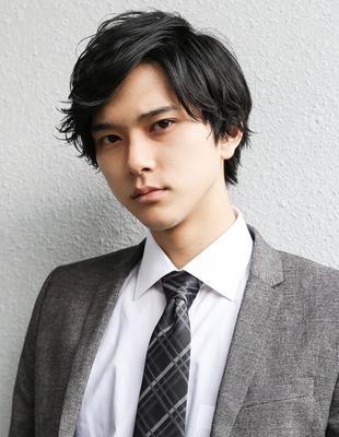 好印象メンズパーマビジネスミディアム人気◎長め髪型(NS-091)