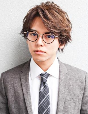 好印象メンズパーマビジネスウルフ人気◎長め髪型(NSー228)