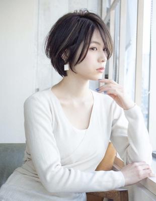 丸顔でも似合う 可愛い髪型 ショートボブ (KI-052)