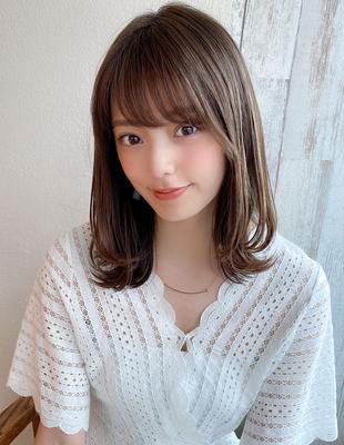 大人可愛い ミディアム レイヤー ワンカール 可愛い髪型(KI-071)