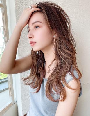 セミロング かき上げ前髪 ハイライト レイヤーカット 可愛い髪型(KI-087)