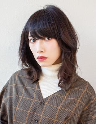ミディアム くびれ レイヤー 可愛い髪型(KI-087)