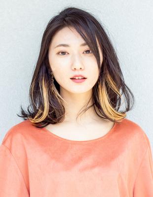 ミディアム レイヤー インナーカラー 可愛い髪型(KI-091)