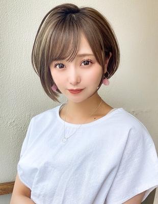 大人可愛いひし形ショートボブ  流し前髪 髪質改善(KI-104)