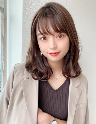 透け感 小顔 くびれミディアム オリーブカラー シースルー前髪(KI-122)