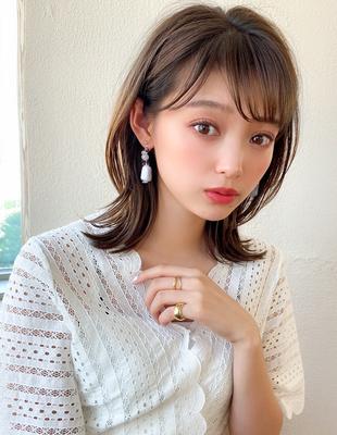 大人可愛い 小顔 耳かけ くびれミディアム くすみカラー 透け感(KI-123)