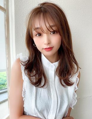 大人可愛い シースルー前髪 レイヤーカット セミロング 外ハネ(KI-128)