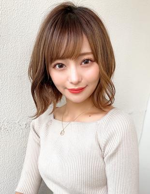 小顔ボブ 抜け感 外ハネ カーキベージュ 濡れ髪(KI-131)