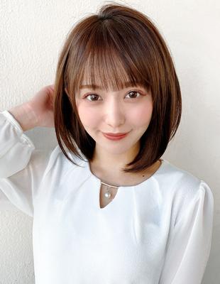 小顔 耳掛けショートボブ 前髪ストレート ショコラベージュ(KI-148)