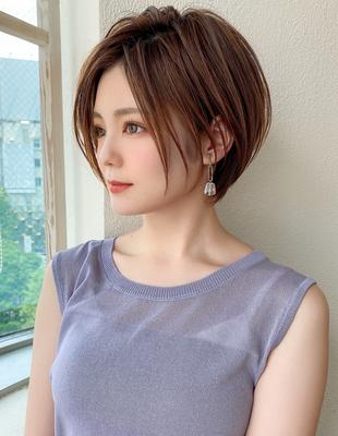 20代30代40代大人かわいいひし形ボブ小顔ショコラベージュ(KI-154)
