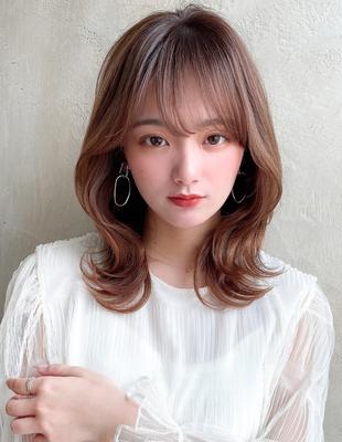 韓国ミディでふんわりくびれミディシースルーバング表参道美容室(MM-52)