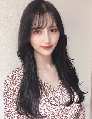 ワンカールでできる韓国ヘアシースルーバングとロングでヨシンモリ大人女子ヌナモリ顔まわりで小顔(MM-53)