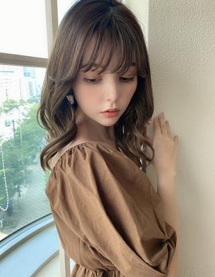 ワンカールで可愛い韓国風顔まわりエギョモリでトレンドヘアひし形くびれミディ(MM-54)