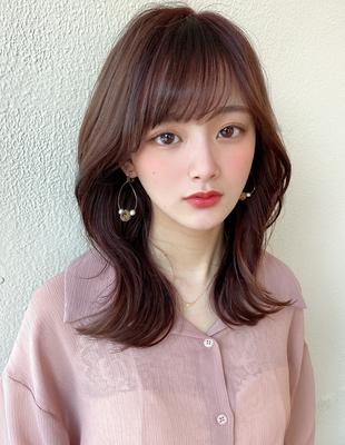 韓国ミディ/くびれヘア/ひし形シルエット/顔まわり/エギョモリ/シースルーバング(MM-67)