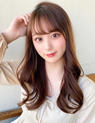 セミロング 前髪 前髪パーマ くびれスタイル(ch-12)