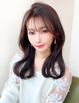 後れ毛/ミディアム/前髪/前髪パーマ/大人ヘア/小顔/簡単ヘア()