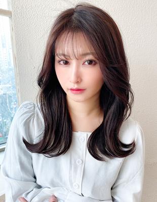 前髪/ミディアム/大人ヘア/簡単ヘア/前髪パーマ/セミロング/後れ毛(ch-24)