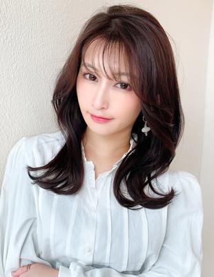 前髪/前髪パーマ/セミロング/大人ヘア/簡単ヘア/小顔/似合わせ/後れ毛(ch-25)