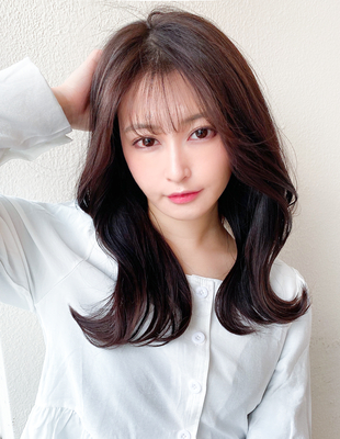 前髪/前髪パーマ/セミロング/後れ毛/くびれ/ミディアム/簡単ヘア/似合わせカット(ch-28)